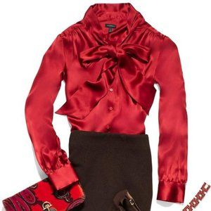 Talbot's Red Silk Charmeuse Tie-Neck Button Down